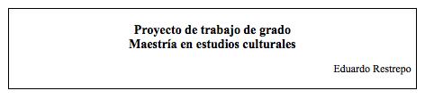 Documento guía para la elaboración de proyecto de investigación en estudios culturales